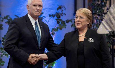 """""""Sepan que EU va a usar toda su fuerza económica y diplomática hasta que se restaure la democracia en Venezuela"""", dijo el vicepresidente de EU, Mike Pence. Foto/Afp"""